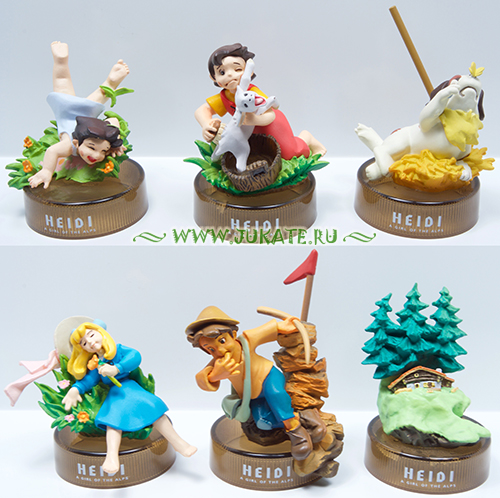 Japan toys  -  Kaiyodo / Heidi a Girl of the Alps bottle cap collection